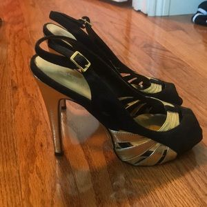 Cathy Jean Black and Gold Heels